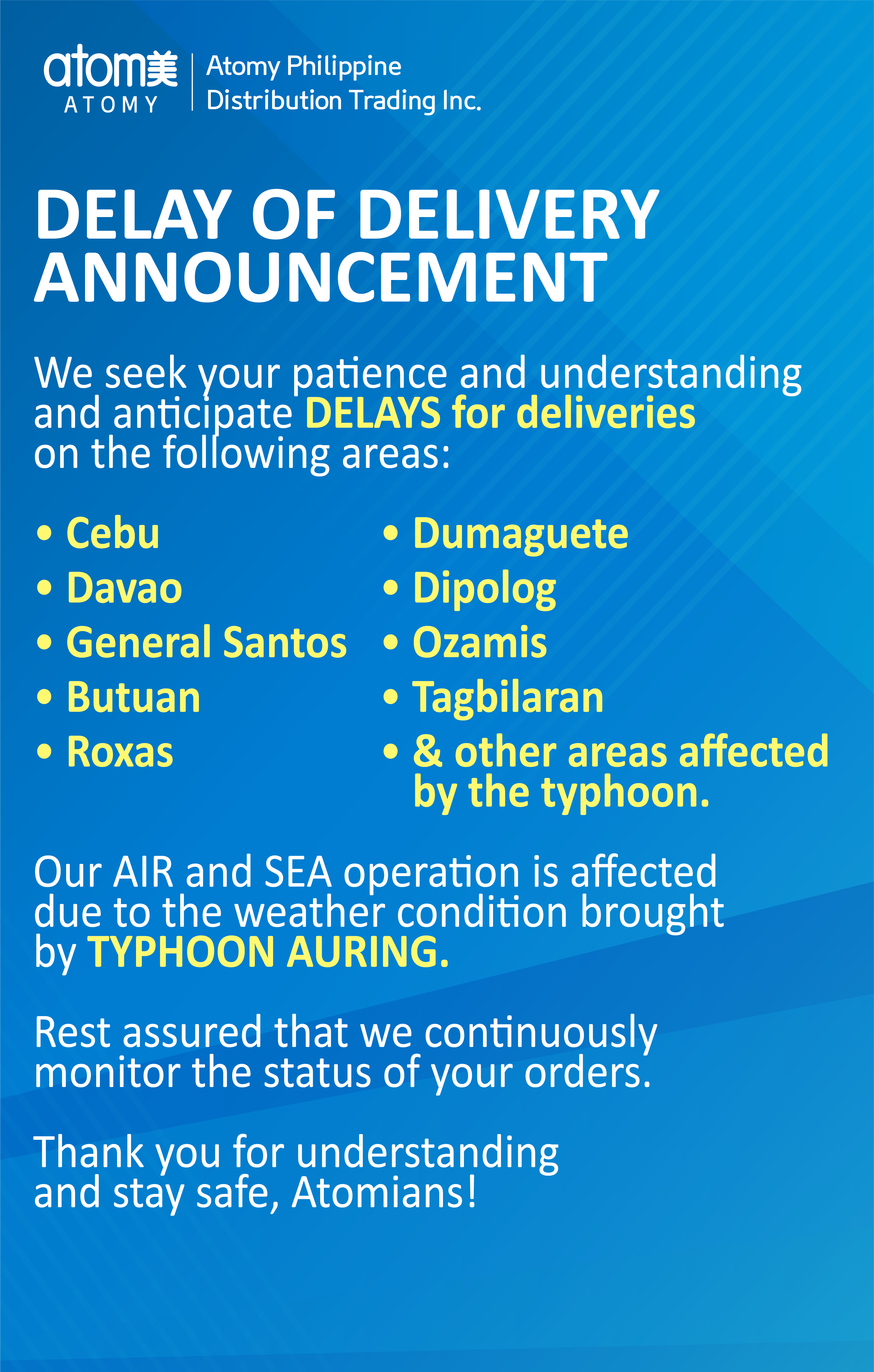 Delivery Announcement - February 22,2021 (Typhoon Auring)