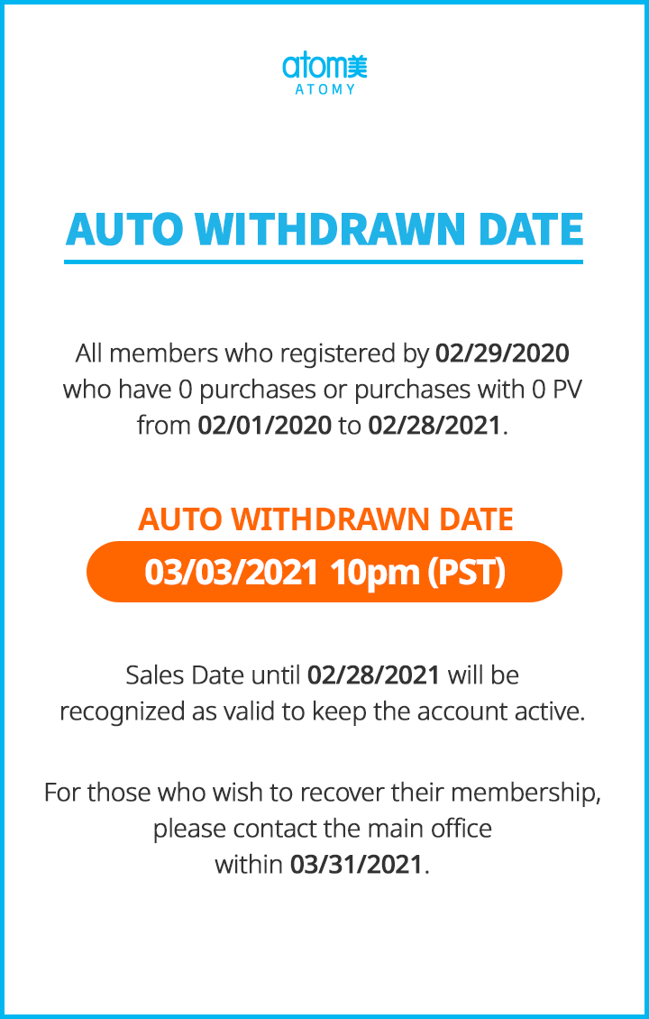 Auto Withdrawn : March 2021