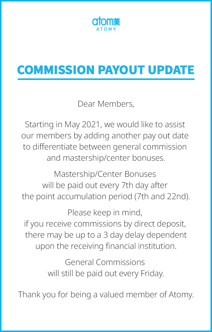 Commission Payout Update