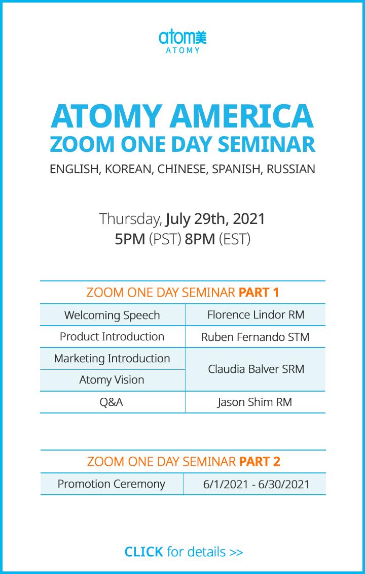 Atomy America Zoom One Day Seminar