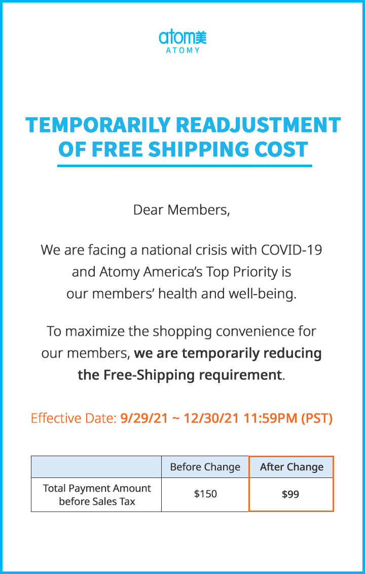 Temporarily Readjustment of Free Shipping Cost